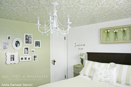 Stunning green bedroom features an Anna Damask Stenciled ceiling. Stencil from Cutting Edge Stencils. http://www.cuttingedgestencils.com/damask-stencil.html