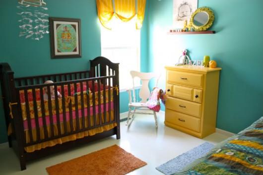 Cool blue nursery belongs to Raechel Myers.