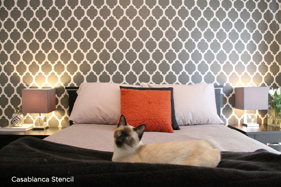 Gorgeous Casablanca Stenciled bedroom in black and white.  http://www.cuttingedgestencils.com/allover-stencils.html
