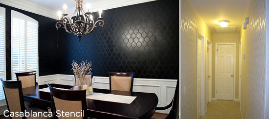 Sublte and Elegant Stencil Design! Casablanca Black Dining Room and White Casablanca Stenciled Hallway.