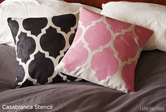Adorable way to recycle old or tacky pillows with the Casablanca stencil from Cutting Edge Stencils.
