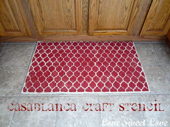 DIY Casablanca stenciled rug is super easy to do and lots of color.