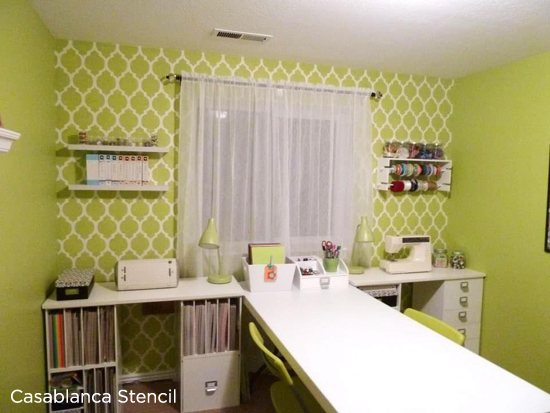 Bright and Cheery craft room has been stenciled with the Casablanca Stencil, the most popular Moroccan Stencil from Cutting Edge Stencils. http://www.cuttingedgestencils.com/allover-stencils.html