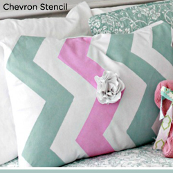 Adorable! This DIY Striped pillow was crated with the Chevron Stencil from Cutting Edge Stencils. http://www.cuttingedgestencils.com/chevron-stencil-pattern.html