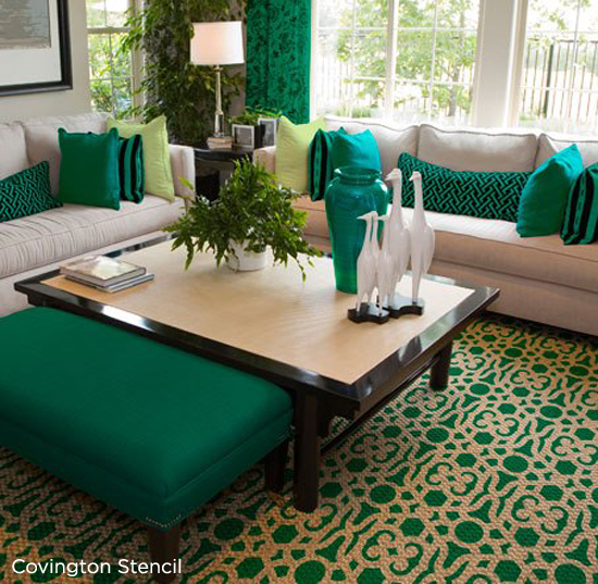 This emerald colored rug has been stenciled withthe Covington Stencil by Cutting Edge Stencils. http://www.cuttingedgestencils.com/stencil-stencils-covington.html