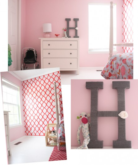 Wow! This little girl's room using the Rabat stencil from Cutting Edge Stencils is just lovely!