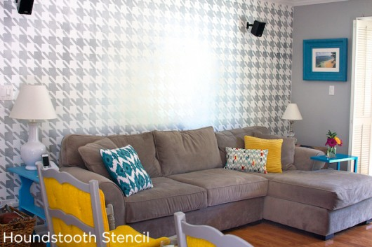 Amazing accent wall using the Houndstooth Stencil design in a high gloss finish in the family room.