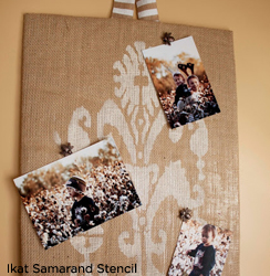 A great idea for wall decor is to create a memory board using the Ikat Samarand Stencil from Cutting Edge STencils.