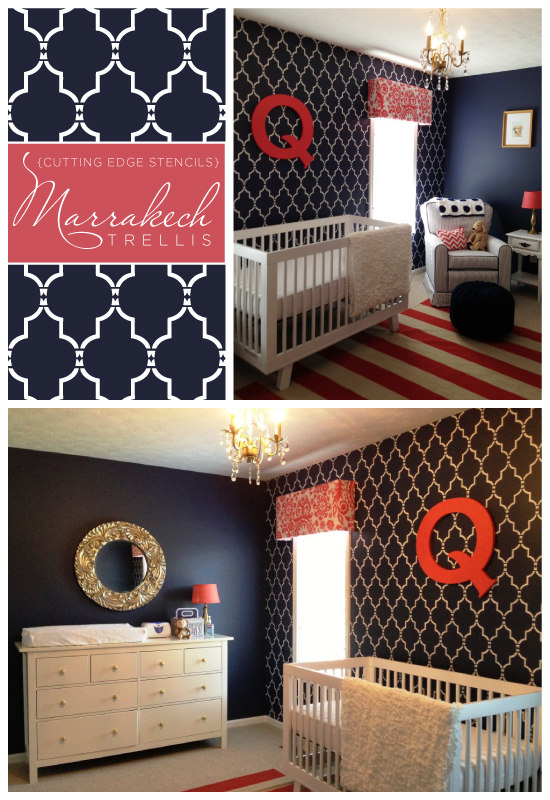 Beautiful Marrakech Trellis stenciled nursery idea that would work for either a girl or boy because of it's bold color choice and pattern design. http://www.cuttingedgestencils.com/moroccan-stencil-marrakech.html