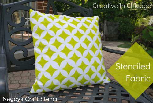 Adorable Nagoya Craft Stenciled pillow in lime green is the perfect accent to any home! http://www.cuttingedgestencils.com/nagoya-furniture-stencil.html