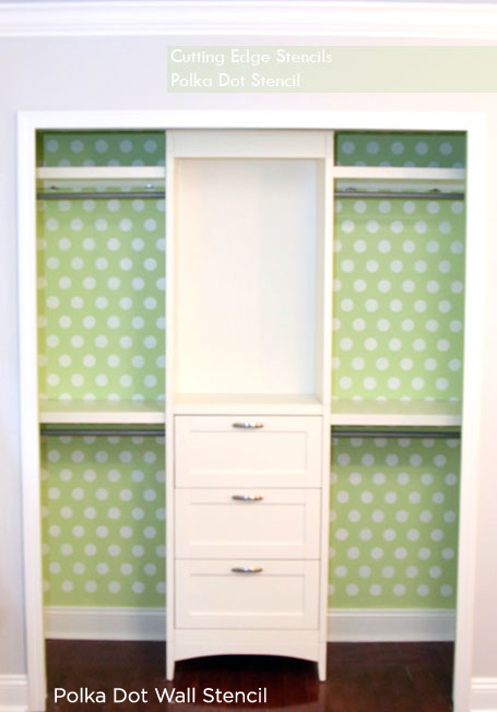 Polka Dot Stenciled Closet Idea is an awesome way to add some color to your home decor. http://www.cuttingedgestencils.com/polka-dots-stencils-nursery.html