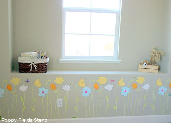Sweet! Adding a floral touch using the Poppy Field Stencil from Cutting Edge Stencils to this little girl's room. http://www.cuttingedgestencils.com/flower-stencils-poppy.html