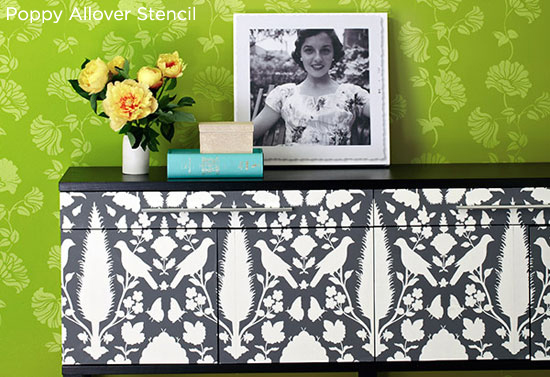 Energetic green stenciled wall idea uses the Poppy Allover Stencil from Cutting Edge Stencils. http://www.cuttingedgestencils.com/allover-wall-stencil.html