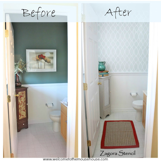 WOW! What a difference the Zagora Allover stencil makes in this bathroom makeover by Mouse House Creations.