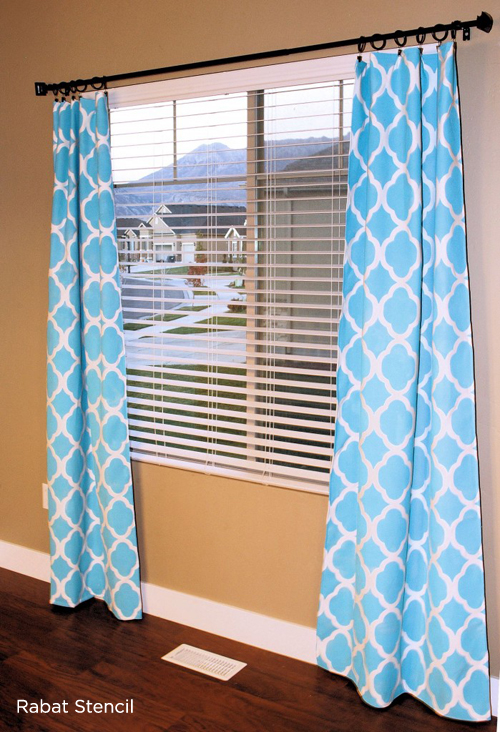 This DIY Curtain Idea uses the Rabat Stencil from Cutting Edge Stencils. http://www.cuttingedgestencils.com/moroccan-stencil-pattern-3.html