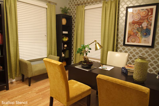 Modern Dining Spaces uses the Scallop Stencil from Cutting Edge Stencils. http://www.cuttingedgestencils.com/scallop-stencil-for-walls.html