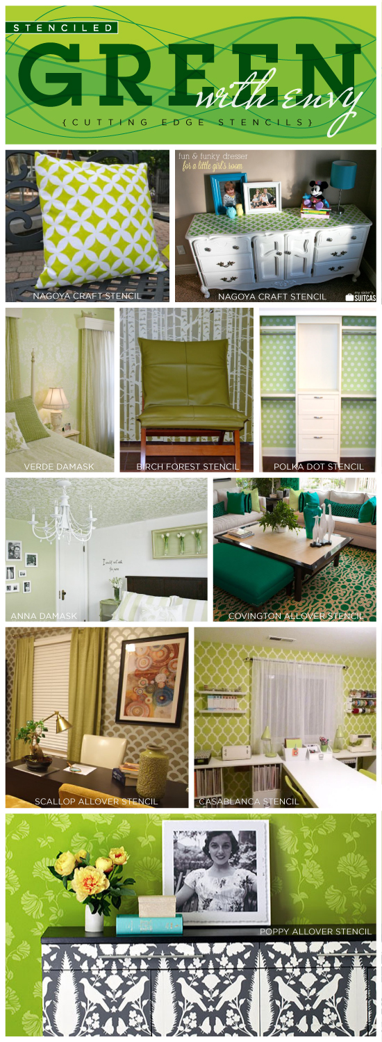 Ten Amazing green DIY Stencil Ideas for your home decor including walls and crafts. www.cuttingedgestencils.com