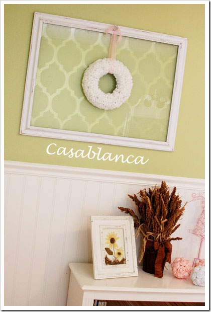 Amazing and inexpensive way to spruce up decor by stenciling the Casablanca Stencil to make wall art on glass or canvas.