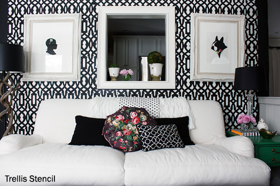 Bold black and white living room uses the Trellis Allover Stencil from Cutting Edge Stencils. http://www.cuttingedgestencils.com/allover-stencil.html