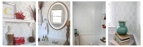 Love this soft gray and white Zagora Stenciled powder room idea!