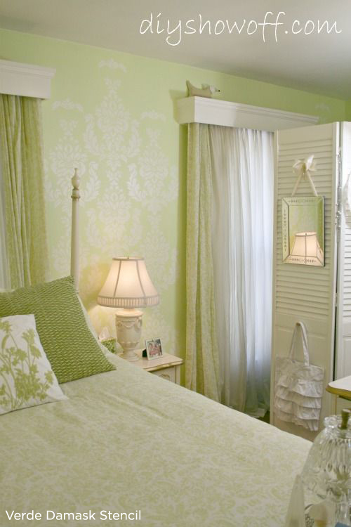 Beautiful green bedroom uses the Verde Damask stencil from Cutting Edge Stencils. http://www.cuttingedgestencils.com/damask-stencil-wallpaper.html