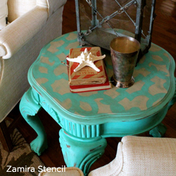 Love this! This table was redone using the Zamira stencil from Cutting Edge Stencils. http://www.cuttingedgestencils.com/craft-stencil-zamira.html