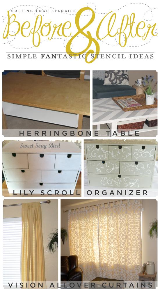 Simple and easy craft stencil ideas to spruce up your space created by the Cutting Edge Stencil fans.
