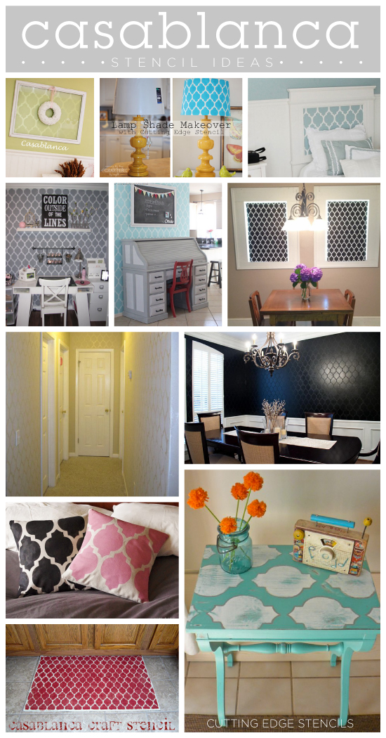 Ten awesome stencil ideas for transforming your home decor with one of our most popular Moroccan stencils, the Casablanca Stencil