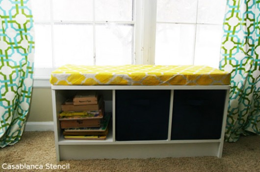 Gorgeous Casablanca stenciled seat cushion adds lots of color to this office bench.