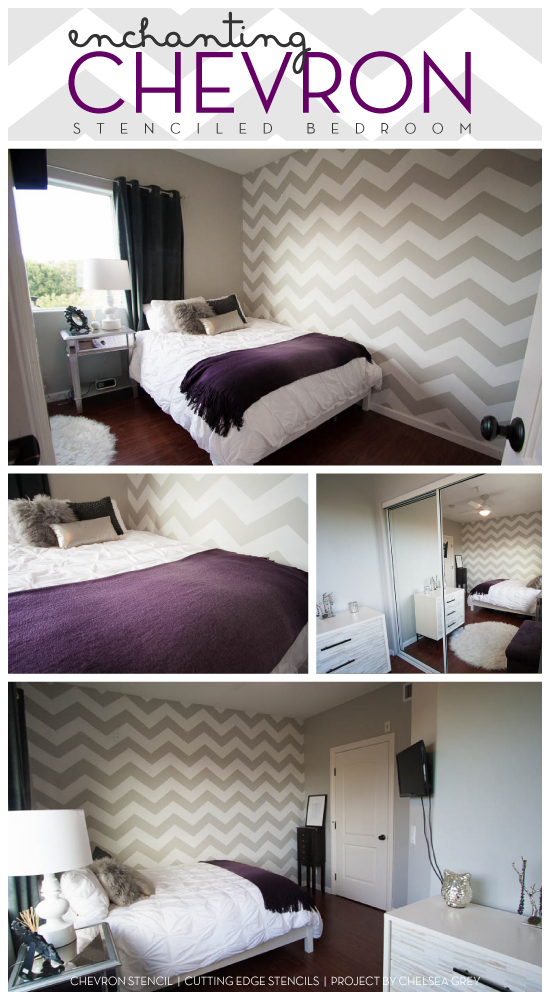 Love this! Beautiful chevron stenciled bedroom idea. The chevron striped pattern makes the accent wall pop