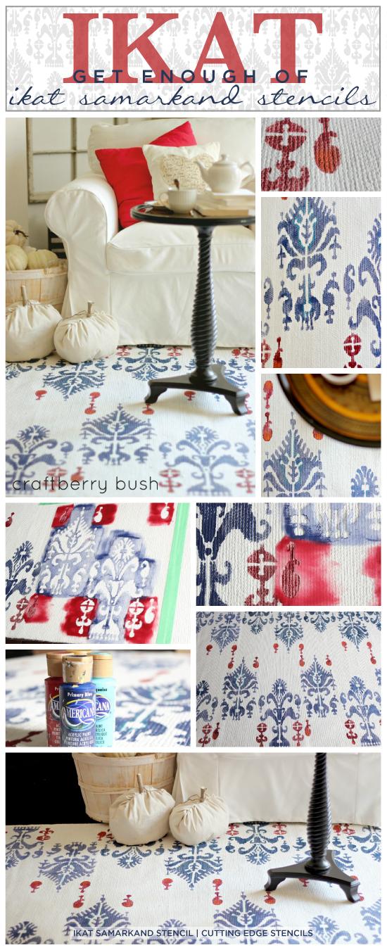 Gorgeous diy rug idea uses the Ikat Samarkand from Cutting Edge Stencils ($46.95) http://www.cuttingedgestencils.com/ikat-stencil-uzbek.html