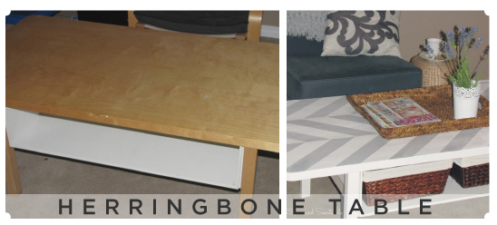 Love this grey and white herringbone stenciled table! Easy to do and a nice way to upcycle an old table.