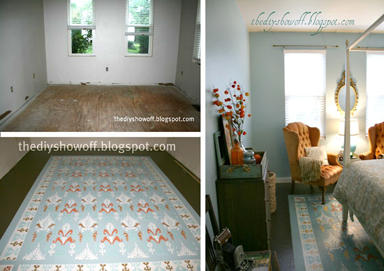 A gorgeous DIY rug idea that uses the Ikat Samarkand stencil by Cutting Edge Stencils in blue to enliven this bedroom.
