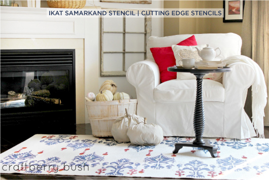 Stunning Ikat Samarkand stenciled diy rug idea give this living space a designer look for a fraction of the price.