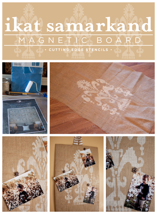 Adorable! Stencil a magnetic memory board using the Ikat Samarkand stencil from Cutting Edge Stencils.