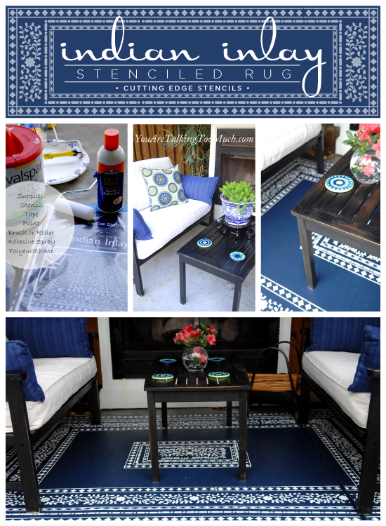 Gorgeous Indian Inlay stenciled DIY outdoor rug idea!  Uses a Cutting Edge Stencil found here http://www.cuttingedgestencils.com/indian-inlay-stencil-furniture.html
