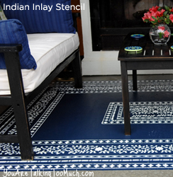 Goregeous! This rug has been stenciled with the Indian Inlay Stencil from Cutting Edge Stencils.  http://www.cuttingedgestencils.com/indian-inlay-stencil-furniture.html