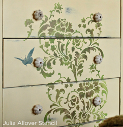 Great way to upcycle an old piece of furniture using the Julia Allover Stencil from Cutting Edge Stencils. http://www.cuttingedgestencils.com/julia-wall-stencil.html