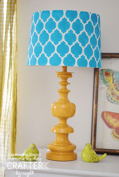 Creative and Unique! A Casablanca stenciled lamp shade adds lots of life and light to any space!