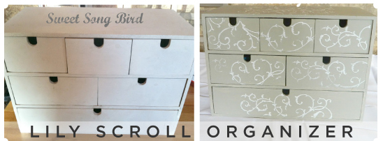 Beautiful craft organizer! Painted gray with a Lily Scroll Stencil adds the perfect touch.