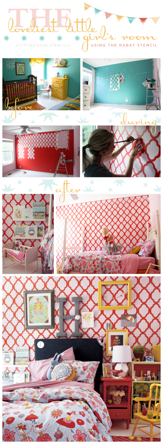 So Lovely! Raechel designed this dream room using the Rabat stencil from Cutting Edge Stencils and materials from Land of the Nod!