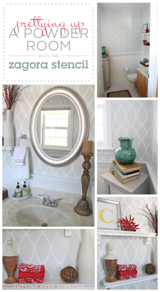 WOW! What a difference the Zagora Allover stencil from Cutting Edge Stencils makes in this bathroom makeover by Mouse House Creations.