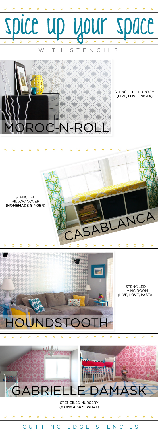 Three amazing Cutting Edge Stencil design ideas that can spice up any space! Oh yeah a fabulous stencil giveaway!