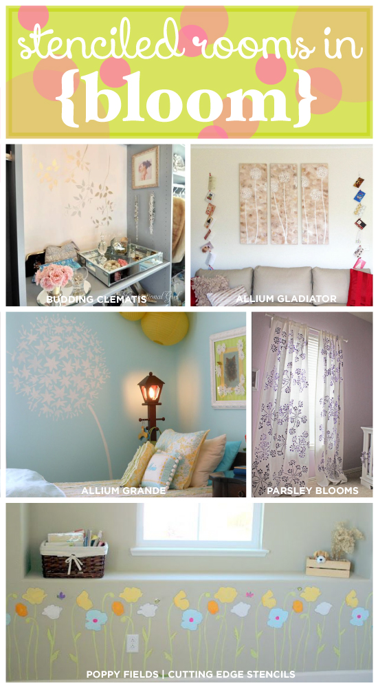 Five Stunning stenciled room ideas that use floral stencils from cutting edge stencils. http://www.cuttingedgestencils.com/stencils-flower-stencil.html