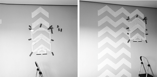 Chevron Stencil work in progress. This leads to a beautiful chevron stenciled bedroom.