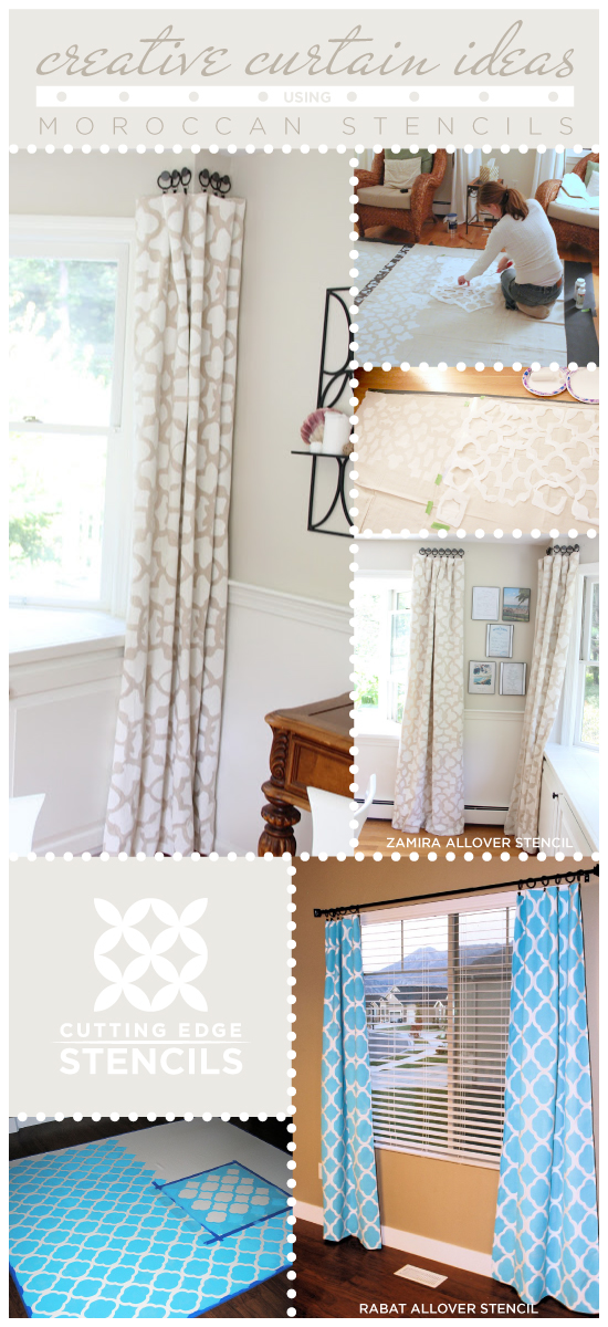 Two great Moroccan stencil ideas to create diy curtains using the Rabat and Zamira Stencil. http://www.cuttingedgestencils.com/moroccan-stencils.html