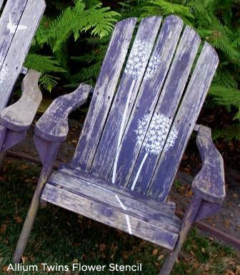 Spruce up the old lawn chair witht he Allium Twins Stencil from Cutting Edge Stencils. http://www.cuttingedgestencils.com/large-flower-stencil.html