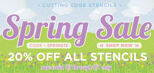 Stencil Sale! Take 20% off all stencils now through April 7th at Cutting Edge Stencils. www.cuttingedgestencils.com