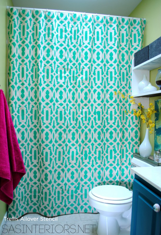 Goregeous! Using the Trellis Allover Stencil from Cutting Edge Stencil, SAS Interiors created her own shower curtain using a stencil and drop cloth! http://www.cuttingedgestencils.com/allover-stencil.html