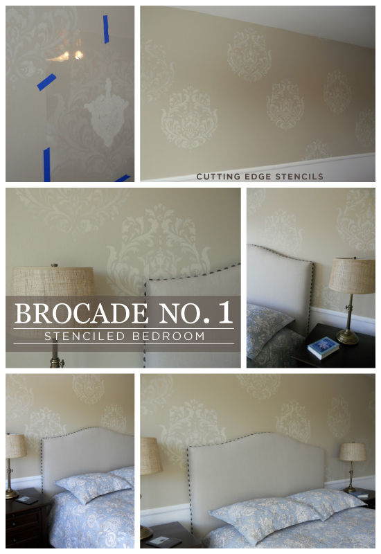Stunning! Bedroom accent wall uses the Brocade No. 1 Stencil from Cutting Edge Stencils. http://www.cuttingedgestencils.com/Brocade-stencil-damask.html